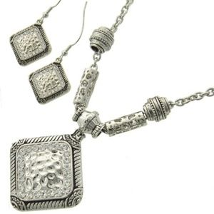 Hammered Necklace and Earrings set, Silver Tone